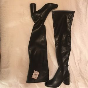 Zara thigh high leather boots